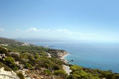 View of the Aegean sea and the north coast of Rhodes island. View of the Aegean sea and the north coast of Rhodes island, Greece royalty free stock photography