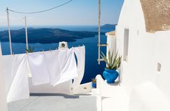 View on Aegean sea from Santorini island, Cyclades, Greece. Typical architecture on greek island Cyclades Stock Images
