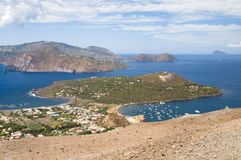 View of Aeolian Islands. View from the top of volcano to Aeolian (Lipari) Islands. A volcano called Fossa di Vulcano located on the island of Vulcano, Italy stock photography
