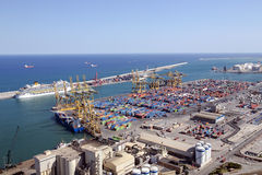 A view aerial  from the hill of Montjuic on the industrial port Stock Photo