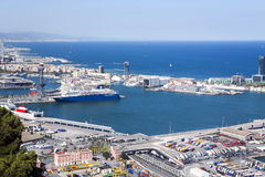 A view aerial  from the hill of Montjuic on the port Vell Royalty Free Stock Images