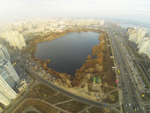 View from the aerial view on the lake and residential district in Kyiv. Ukraine Royalty Free Stock Images