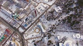 View from the Aero fly over the Park recreation area in winter. Zoo in the city stock footage