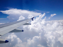 View from Aeroplane Window. Showing clouds & sky Royalty Free Stock Photo