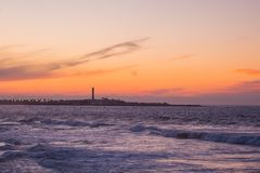 View from afar of the famous lighthouse. Casablanca - Morocco Royalty Free Stock Images