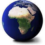 View of Africa on Globe. A view of Africa on a realistic planet Earth Stock Photo