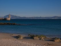View of Africa from Spain. In front of Tarifa we see Maroc. Strait of Gibraltar royalty free stock photography