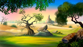 View of the African Savanna with Trees. Digital painting of the African Savanna in a summer day with small tree and big rock Stock Photography