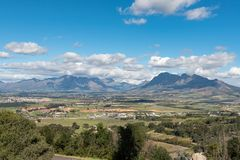 View from Afrikaans Language Monument towards the Hottentots-Holland Mountains royalty free stock photo