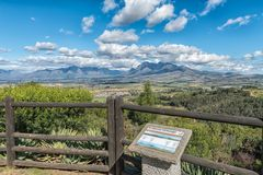 View from Afrikaans Language Monument towards the Hottentots-Holland Mountains stock image