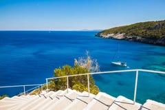 View of  Agios Nikolaos blue caves  in Zakynthos Zante island,. In Greece Stock Photography