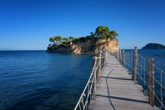 View from Agios Sostis and Cameo island. A beautiful small island with wooden bridge and turquoise water. Zakynthos Greece. View from Agios Sostis and Cameo Royalty Free Stock Image