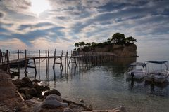View from Agios Sostis and Cameo island. A beautiful small island with wooden bridge and turquoise water. Zakynthos Greece. View from Agios Sostis and Cameo stock photo