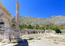 View of agora at ancient city of Sagalassos. With column and arch Stock Photos