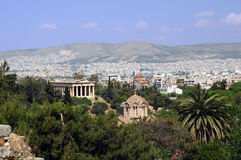 View of Agora in Athens in Greece. View of Orthodox church and temple of Hephaestus in Agora in Athens, Greece Royalty Free Stock Photography