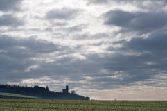 View of agricultural fields and town on a foggy morning Royalty Free Stock Photography