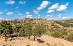View of Agrigento town from the Temples Valley Archaeological Park, Sicily. Stock Photos