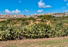 View of Agrigento town from the Temples Valley Archaeological Park, Sicily. Stock Image