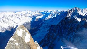 View from Aguille du Midi, France. Valley of Chamonix, France holiday Royalty Free Stock Photo