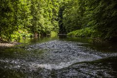 View of Ahr river in the middle of a lot of green vegetation. Beautiful view of Ahr river in the middle of a lot of green vegetation on a wonderful sunny day of royalty free stock image
