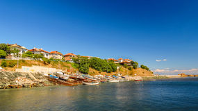 View of Ahtopol, from the pier, Bulgaria. Royalty Free Stock Images