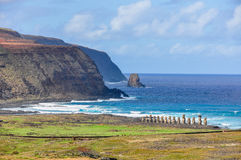 View of Ahu Tongariki site in Easter Island, Chile stock images