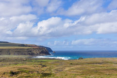 View of Ahu Tongariki site in Easter Island, Chile Stock Photo