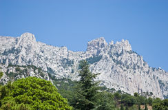 View of Ai-Petri mountain from Alupka park Royalty Free Stock Photos