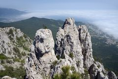 View from Ai-Petri mountain over cliff and Black Sea Stock Images