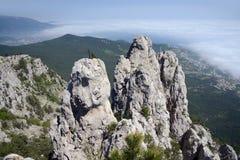 View from Ai-Petri mountain over cliff and Black Sea. Yalta, Crimea, Ukraine stock images