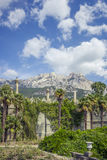 View of Ai-Petri mountain. From Vorontsov palace park. Alupka, Crimea stock image
