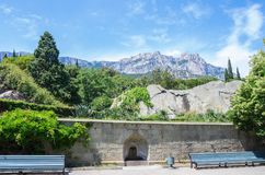 View of the Ai-Petri mountain from the Vorontsov Palace. Russia, the Republic of Crimea, the city of Alupka. 06/09/2018 Royalty Free Stock Images