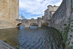 Aigues Mortes city - Bridge, Walls and Tower of Constance - Camargue - France. View of Aigues Mortes city - Bridge, Walls and Tower of Constance - Camargue Stock Images