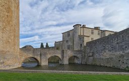 Aigues Mortes city - Bridge, Walls and Tower of Constance - Camargue - France. View of Aigues Mortes city - Bridge, Walls and Tower of Constance - Camargue Stock Image