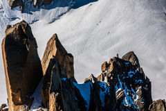 The view from Aiguille du Midi during acclimatization and climb Royalty Free Stock Photos