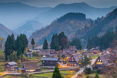 View of Ainokura village with houses Royalty Free Stock Photos
