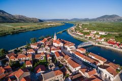 View from the air in a small place in southern Croatia Royalty Free Stock Photo