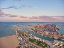 View from the air to the seaport of Valencia during sunset. Spain royalty free stock photography