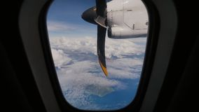 A view of the aircraft propeller motor from the airplane window. A view of the aircraft propeller motor from the airplane window stock video footage