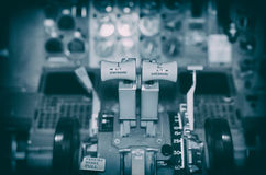 View of aircraft thrust lever. Stock Photo