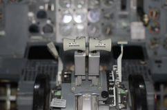 View of aircraft thrust lever. Royalty Free Stock Photos
