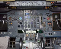 View of aircraft thrust lever. View of aircraft thrust lever in pilot's cabin Stock Photos