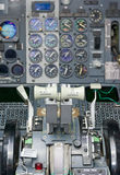 View of aircraft thrust lever. View of aircraft thrust lever in pilot's cabin Royalty Free Stock Photo