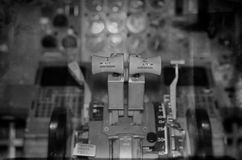 View of aircraft thrust lever. Royalty Free Stock Photography