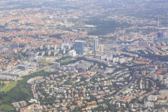 View from aircraft to the area of Prague Royalty Free Stock Photos