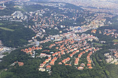 View from aircraft to the area of Prague Stock Image