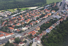 View from aircraft to the area of Prague Royalty Free Stock Photo