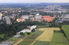 View from aircraft to the area of Prague Royalty Free Stock Photography