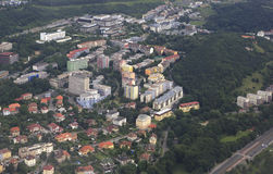 View from aircraft to the area of Prague Royalty Free Stock Image
