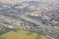 View from aircraft to the area of Prague Stock Photography